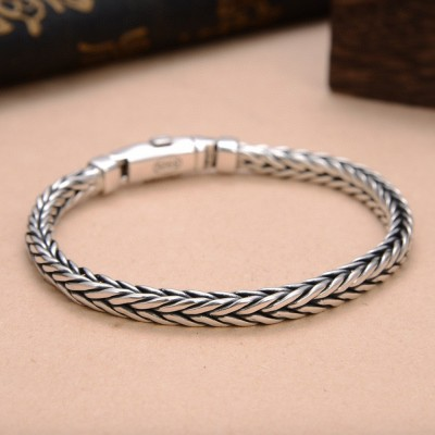 Men's Sterling Silver Slim Braided Bracelet