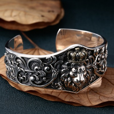 Men's Sterling Silver Lion King Cuff Bracelet
