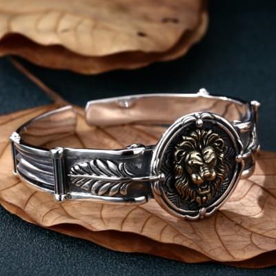Men's Sterling Silver Lion Cuff Bracelet