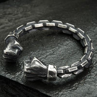 Men's Fine Silver Link Pattern Fists Cuff Bracelet