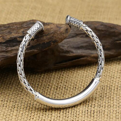 925 Silver Chain >> Sterling Silver Round Braided Cuff Bracelet - Jewelry1000.com