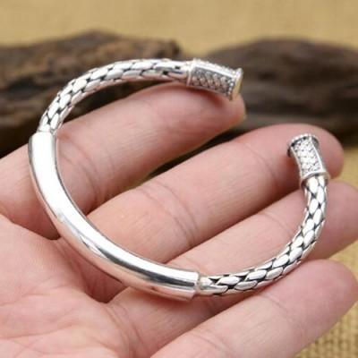 Sterling Silver Round Braided Cuff Bracelet