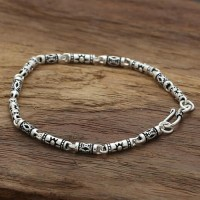 Sterling Silver Carved Tubes Chain Bracelet