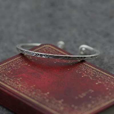 Sterling Silver Square Cuff Bracelet with Helix Ends