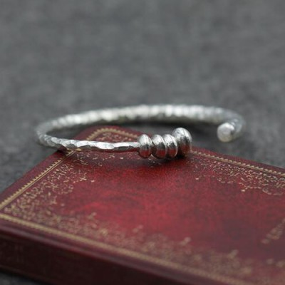 Sterling Silver Hammered Cuff Bracelet with Beads