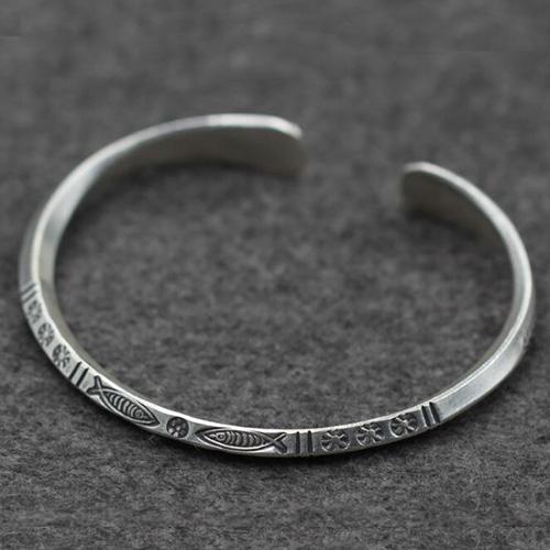 Sterling Silver Fish Pattern Cuff Bracelet