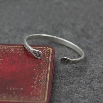 Sterling Silver Leaf Pattern Cuff Bracelet