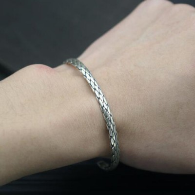 Sterling Silver Braided Slim Cuff Bracelet