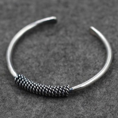 Sterling Silver Rope Twined Cuff Bracelet