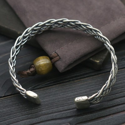 Sterling Silver Braided Wide Cuff Bracelet