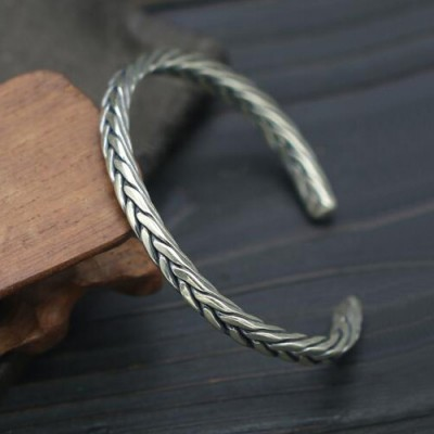 Sterling Silver Slim Braided Cuff Bracelet