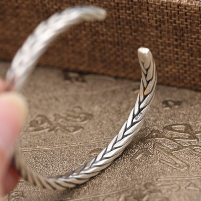 Sterling Silver Slim Braided Cuff Bracelet