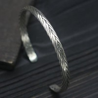 Sterling Silver Sleek Braided Cuff Bracelet