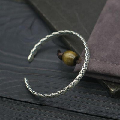 Sterling Silver Staggered Weave Cuff Bracelet