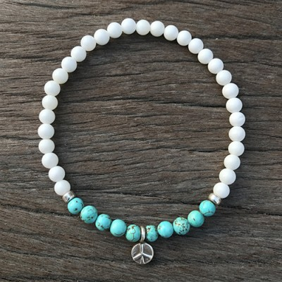 "Turquoise and Shell Beaded Bracelet with Sterling Silver Charms 6""-8.5"""