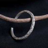 Fine Silver Totem Square Cuff Bracelet
