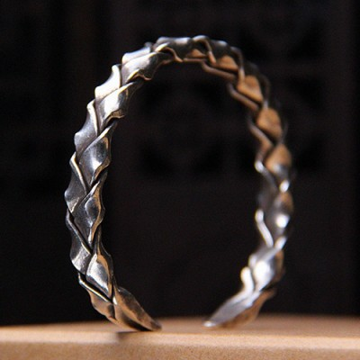 Sterling Silver Wide Strip Braided Cuff Bracelet