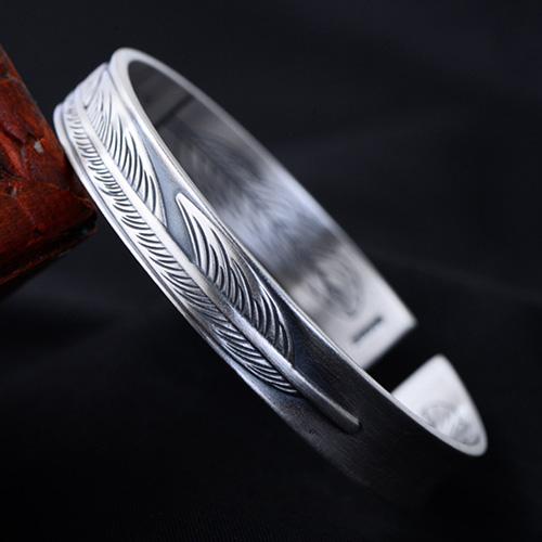 Fine Silver Feather Cuff Bracelet