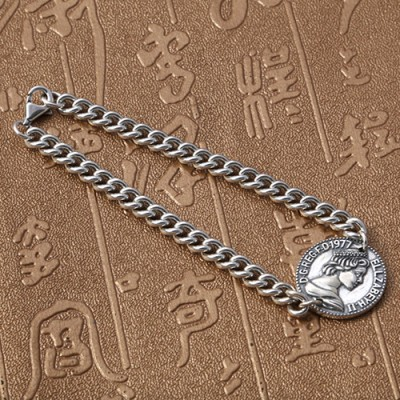 Sterling Silver Queen Coin Bracelet