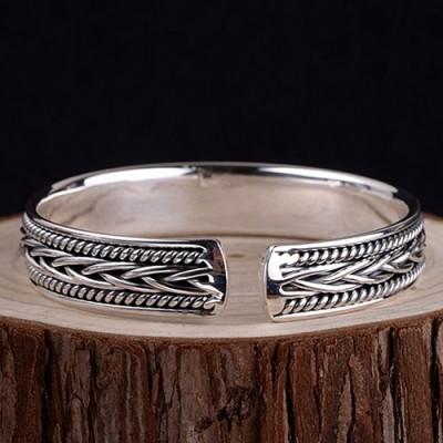 Fine Silver Braided Pattern Cuff Bracelet