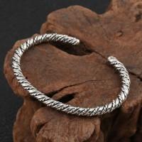 Sterling Silver Slim Twisted Cuff Bracelet
