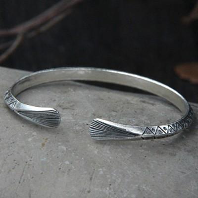 Sterling Silver Triangle Pattern Cuff Bracelet
