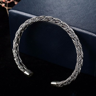 Sterling Silver Braided Rope Cuff Bracelet