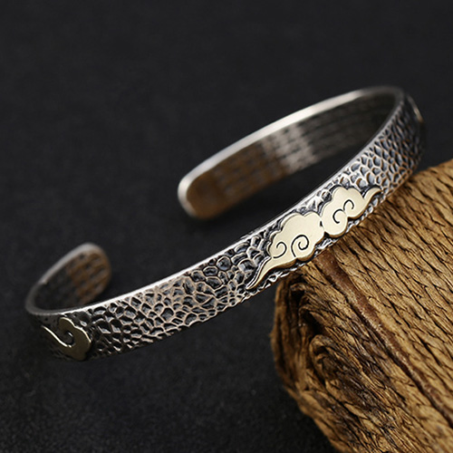 Sterling Silver Cloud and Scriptures Cuff Bracelet