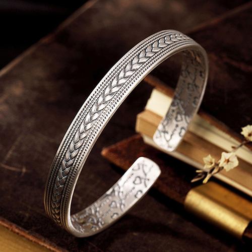 Fine Silver Woven Pattern Cuff Bracelet