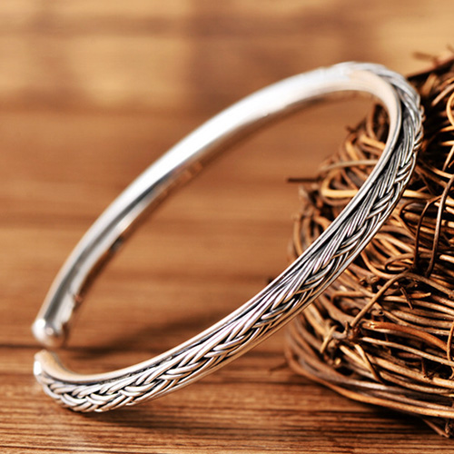 Fine Silver Slim Braided Cuff Bracelet