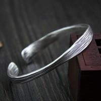 Sterling Silver Strip Pattern Cuff Bracelet