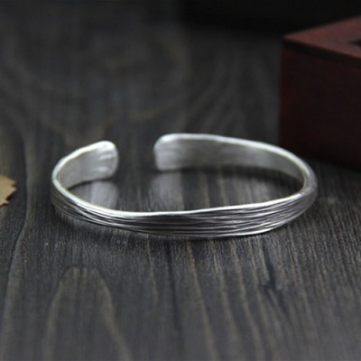 Sterling Silver Strip Pattern Cuff Bracelet