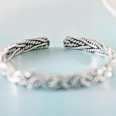 Fine Silver Braided Cuff Bracelet