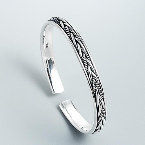 Fine Silver Braid Pattern Cuff Bracelet