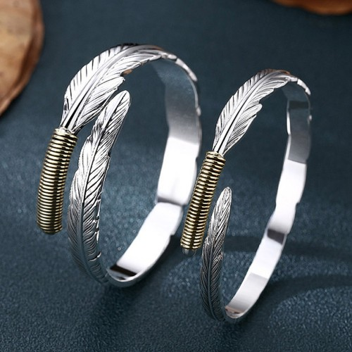 Fine Silver Feather Bangle Bracelet