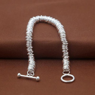 Women's Sterling Silver Rings Chain Bracelet