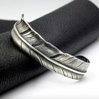 Women's Sterling Silver Feather Cuff Bracelet