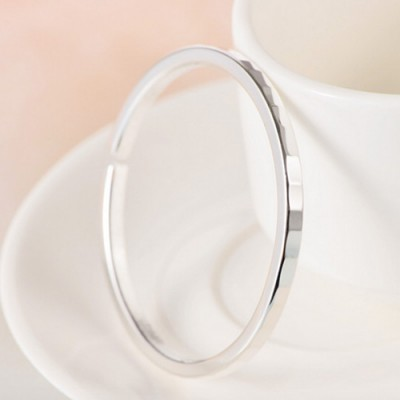 Women's Fine Silver Cloud Pattern Cutting Cuff Bracelet