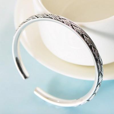 Women's Fine Silver Braided Pattern Cuff Bracelet