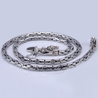 "3.5-7 mm Men's Sterling Silver Dragon Head Byzantine Chain 18""-24"""