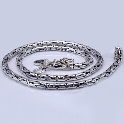 "4-7 mm Men's Sterling Silver Dragon Head Byzantine Chain 18""-24"""