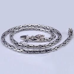 "4-7 mm Men's Sterling Silver Dragon Head Byzantine Chain 18""-24"""