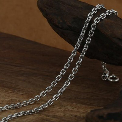 """2.5 mm Men's Sterling Silver Thai Anchor Link Chain 18""""-30"""""""