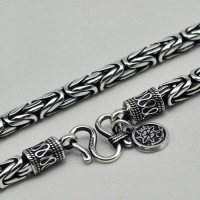 "4-8 mm Men's Fine Silver Byzantine Chain 18""-24"""