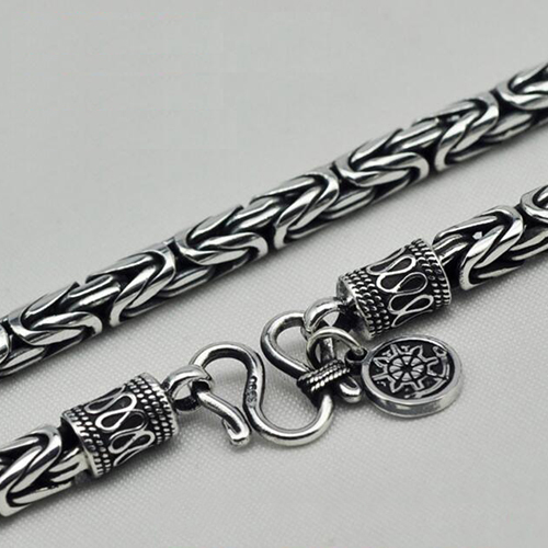 "3.5-8 mm Men's Fine Silver Byzantine Chain 18""-24"""