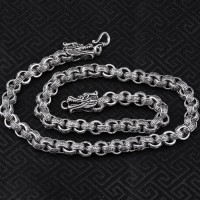"8 mm Men's Sterling Silver Dragon Heads Rolo Chain 20""-24"""