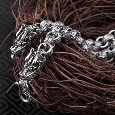 "8 mm Men's Sterling Silver Dragon Heads Rolo Chain 20""-24"""