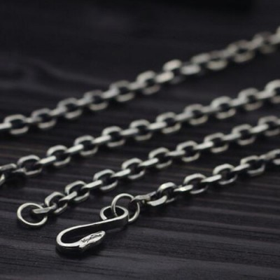 "Men's Sterling Silver Eagle Hook Anchor Link Chain 18""-28"""