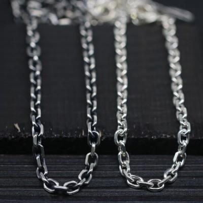 "Men's Sterling Silver Eagle Hook Anchor Link Chain 18""-28"""
