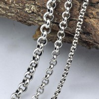 "3.5-5.5 mm Men's Sterling Silver Rolo Chain 18""-30"""